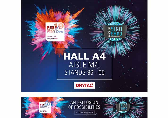 FESPA exhibition panels with explosion graphics