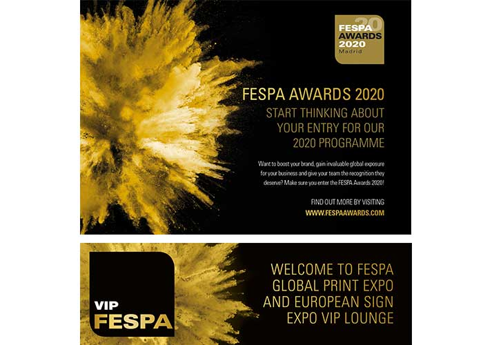 FESPA Awards collateral with explosion graphics
